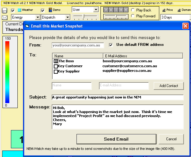 Choose which email address to select from the address book