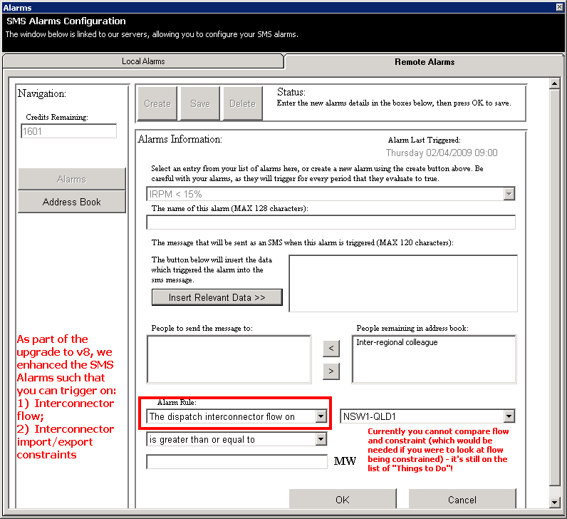 Remote Alarms - Configuring your SMS alarms to reference Interconnector Flow, or Constraints