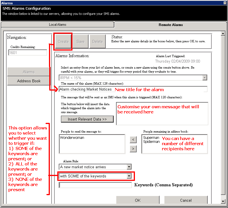 Remote Alarms - Configuring your SMS alarms to reference NEMMCO's Market Notices