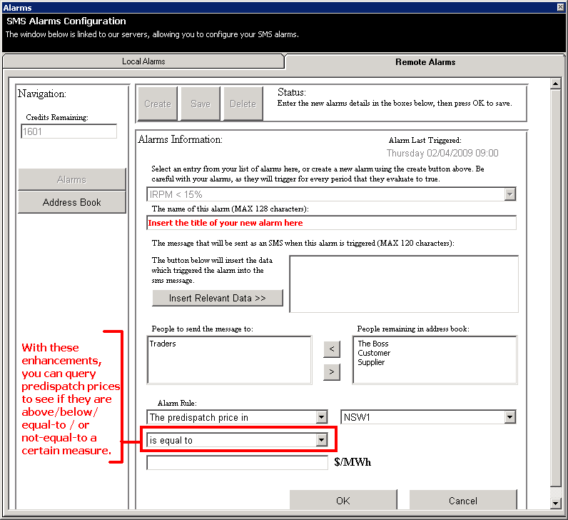 Remote Alarms - Configuring your SMS alarms to reference predispatch pricing